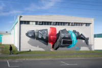 """©Disposing machine n°2 """"Disposing machine n°2"""" - Mural painting realized in Gisborne (New Zealand) for the SeaWalls Tairāwhiti project by PangeaSeed Foundation, 2018. 38°40'06.5""""S 178°01'22.6""""E"""